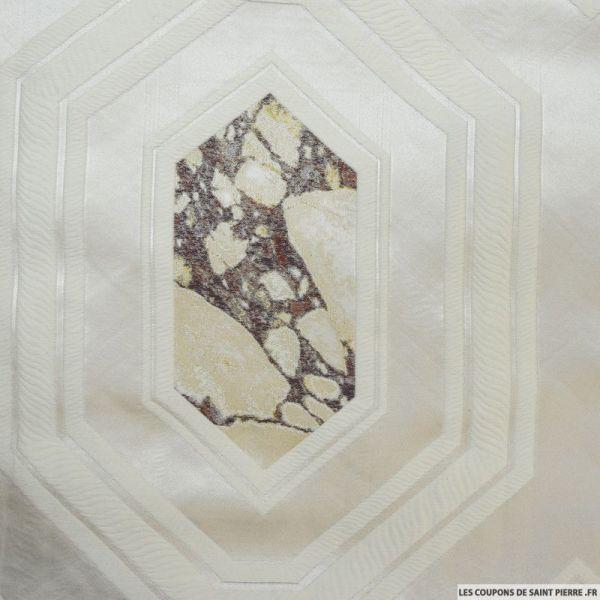 Jacquard de laine marbre fond ivoire