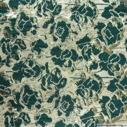 Brocart fleurs vert et doré