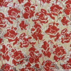 Brocart fleurs rouge et doré