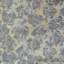 Brocart fleurs gris et argent