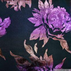 Brocart fleurs violettes fond marine