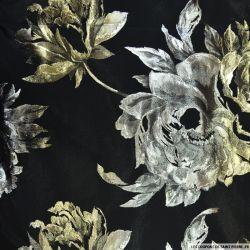 Brocart fleurs doré fond noir