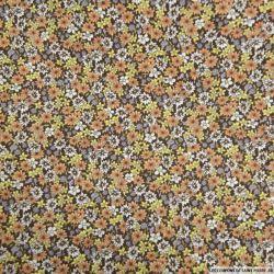 Coton imprimé fleurs marron et orange