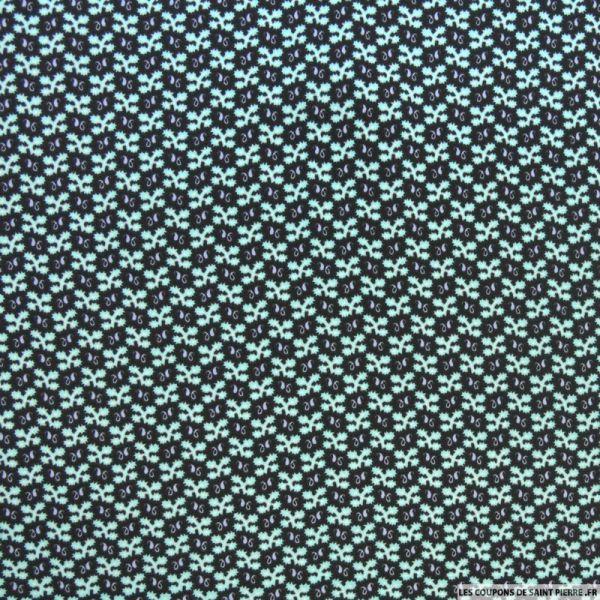 Tissu Microfibre imprimé flocon vert d'eau