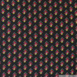 Microfibre imprimée rose féérique fond noir
