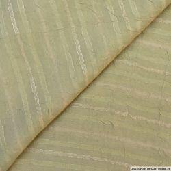 Voile de polyester rayé kaki clair