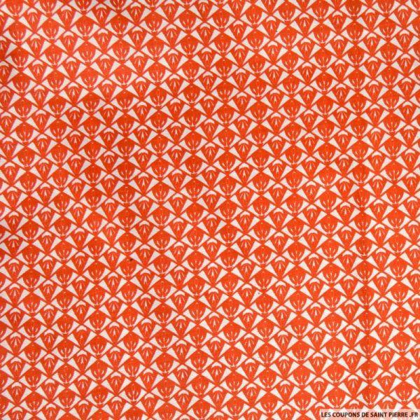 Polycoton imprimé losange orange