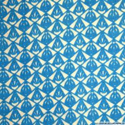 Polycoton imprimé losange bleu