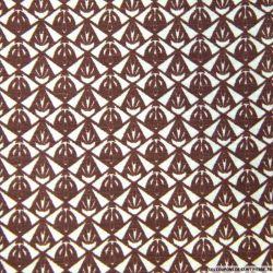 Polycoton imprimé losange marron