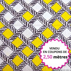Wax africain tissage marine et jaune, vendu en coupon de 2,50 mètres
