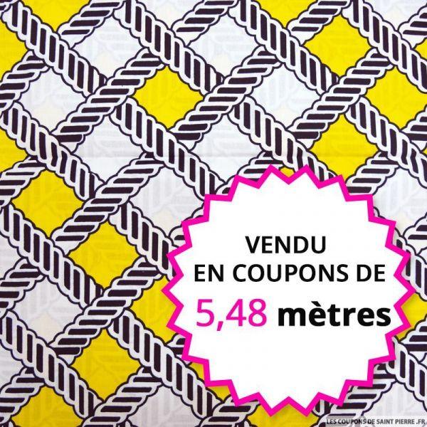 Wax africain tissage marine et jaune, vendu en coupon de 5,48 mètres