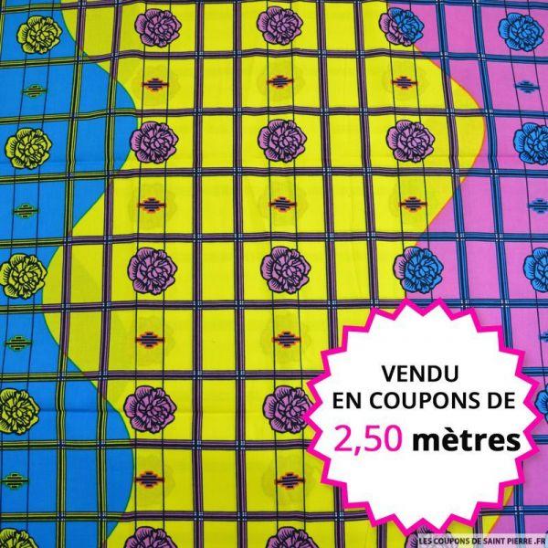 Wax africain pivoine et quadrillage, vendu en coupon de 2,50 mètres