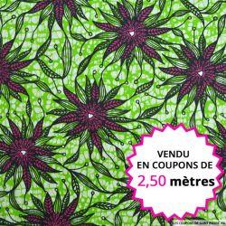 Wax africain algues fond vert, vendu en coupon de 2,50 mètres