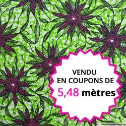 Wax africain algues fond vert, vendu en coupon de 5,48 mètres