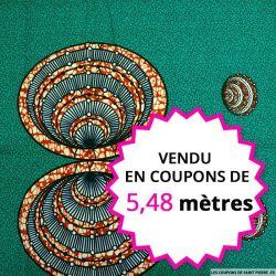 Wax africain coquillages, vendu en coupon de 5,48 mètres