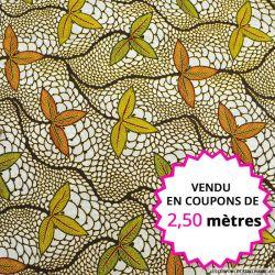 Wax africain feuilles d'automne, vendu en coupon de 2,50 mètres