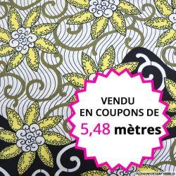 Wax africain fleurs jaune pâle, vendu en coupon de 5,48 mètres