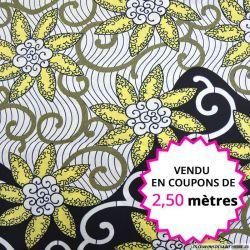 Wax africain fleurs jaune pâle, vendu en coupon de 2,50 mètres