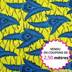 Wax africain feuilles tropical bleu, vendu en coupon de 2,50 mètres