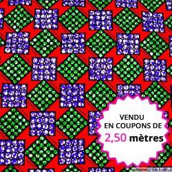 Wax africain carré vert et violet fond rouge, vendu en coupon de 2,50 mètres