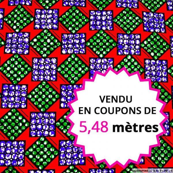 Wax africain carré vert et violet fond rouge, vendu en coupon de 5,48 mètres