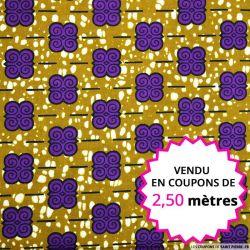 Wax africain motif violet sur fond kaki, vendu en coupon de 2,50 mètres