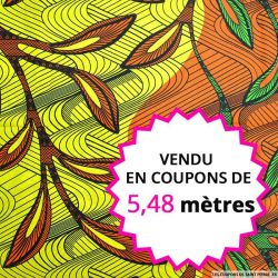 Wax africain amazonie vert jaune et orange, vendu en coupon de 5,48 mètres