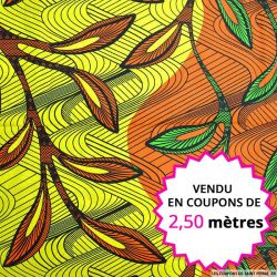 Wax africain amazonie vert jaune et orange, vendu en coupon de 2,50 mètres