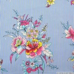 Coton élasthane imprimé bouquet de fleurs et rayures bleu