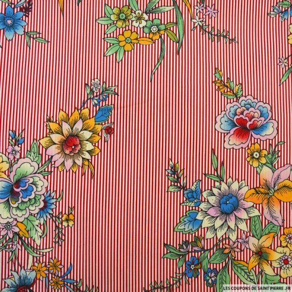 Coton élasthane imprimé bouquet de fleurs et rayures rouge
