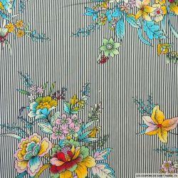 Coton élasthane imprimé bouquet de fleurs et rayures noir