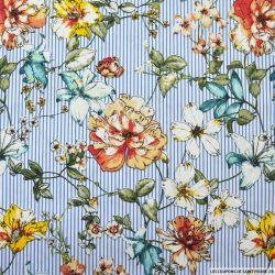 Coton élasthane imprimé champêtre et rayures bleu clair