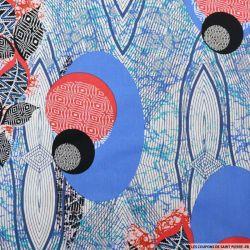 Coton élasthane imprimé spirographe bleu