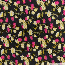 Polycoton imprimé fleur rose et branche d'or