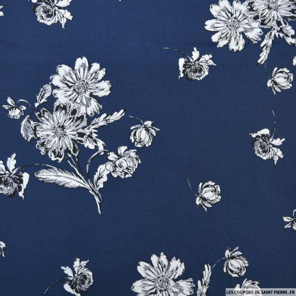 Coton élasthane imprimé fleurs fond marine
