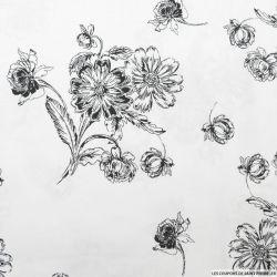 Coton élasthane imprimé fleurs fond blanc