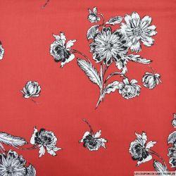 Coton élasthane imprimé fleurs fond rouge