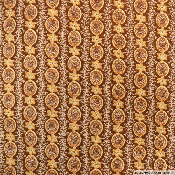 Polycoton imprimé frise fleurs marron et camel