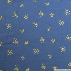 Jersey coton imprimé étoiles paillettes fond marine