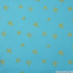 Jersey coton imprimé étoiles paillettes fond bleu azur