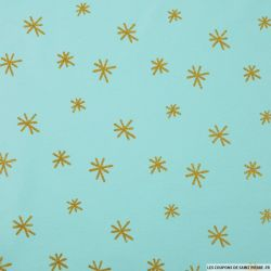 Jersey coton imprimé étoiles paillettes fond bleu givré