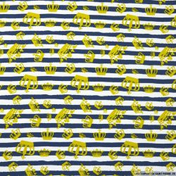 Jersey coton imprimé couronne fond rayures marine