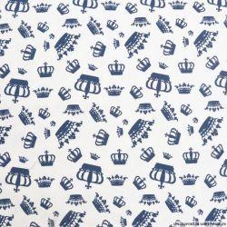 Jersey coton imprimé couronne fond blanc