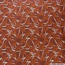 Polycoton imprimé couronne fond marron