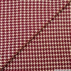 Tweed polyester pied de coq bordeaux et doré