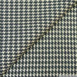Tweed polyester pied de coq noir et doré
