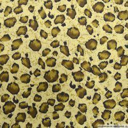 Polycoton imprimé léopard kaki et marron