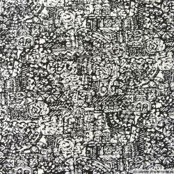 Polycoton imprimé maori noir et blanc