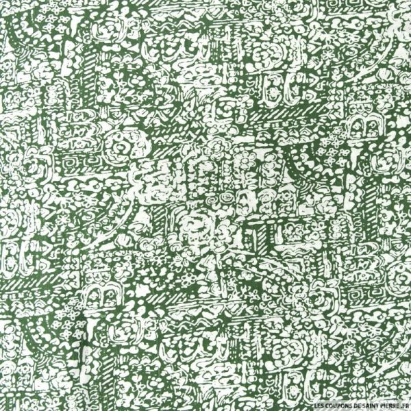 Polycoton imprimé maori vert