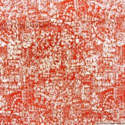 Polycoton imprimé maori rouge